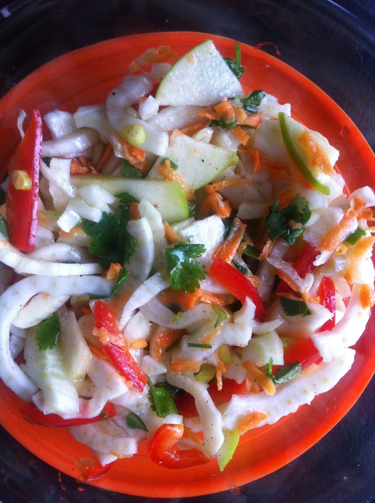 Fennel Apple salad with cilantro lime dressing: 1 bulb fennel top ...