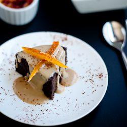 Chocolate Cake with White Chocolate and Lady Grey Tea Creme Anglaise ...
