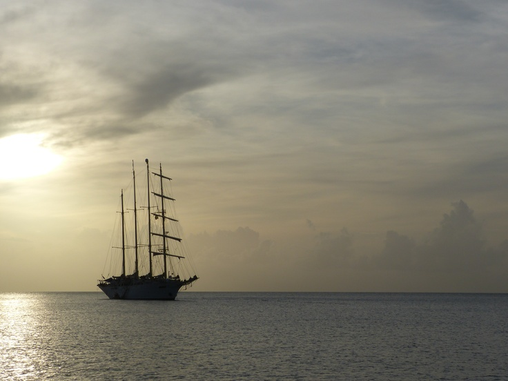 A tall ship at rest just off shore of Bequia.