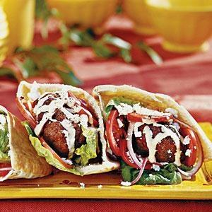 Gyro Burgers -  Print this recipe at AmericanFamily.com.