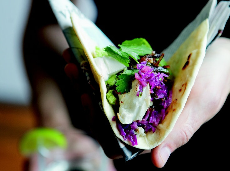 """Halibut Tacos with Tequila-Lime Marinade and Red Cabbage Slaw"""" from ..."""