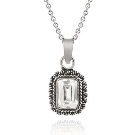 Silver Emerald Cut Simulated Diamond CZ Square Pendant