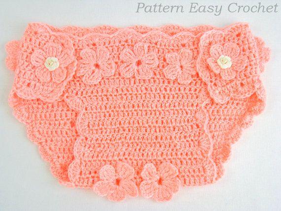 Crochet Patterns Diaper Covers : Crochet pattern baby diaper cover floral instant by easycrochet, $5.50
