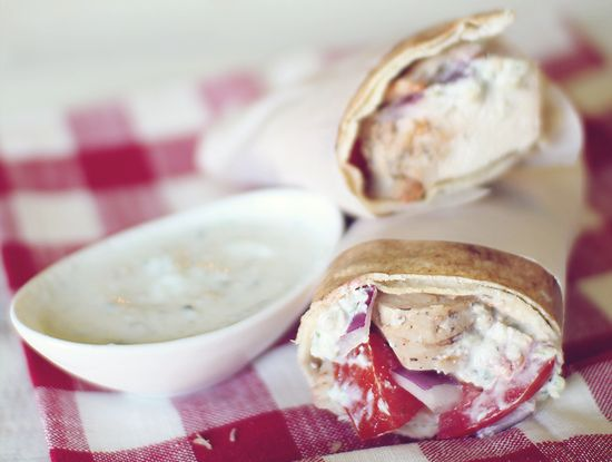 Skinny Chicken Gyro with Tzatziki Sauce. Serving size: 2 gyros with 1 ...
