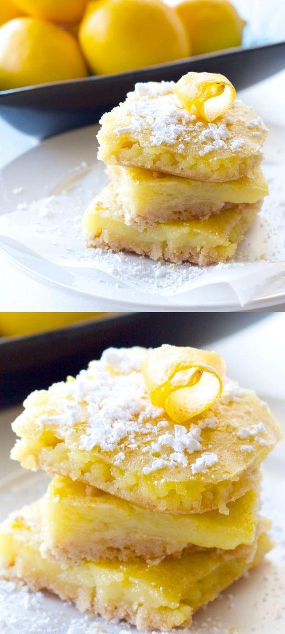 Healthy Meyer Lemon Bars. Only 87 calories