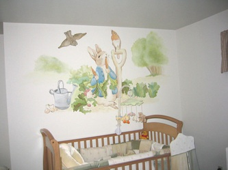 Peter rabbit nursery mural nursery murals pinterest for Beatrix potter mural wallpaper