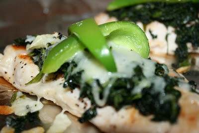 Grilled Chicken with spinach, melted mozzarella and roasted green ...