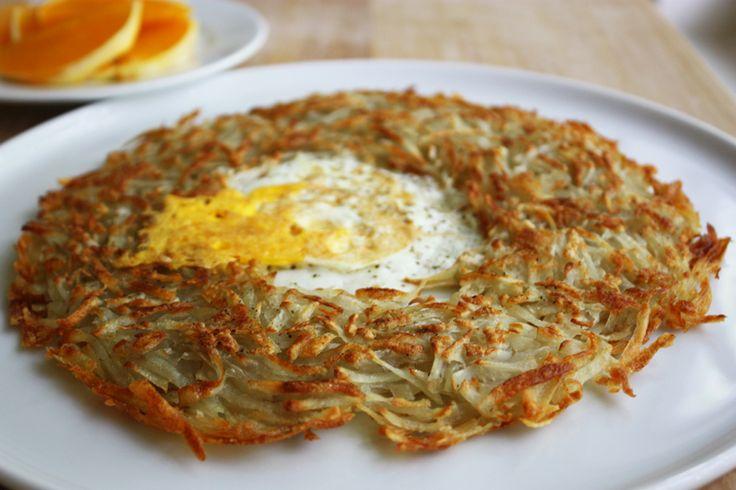 egg in hash brown nest | food stuffs: breakfast | Pinterest