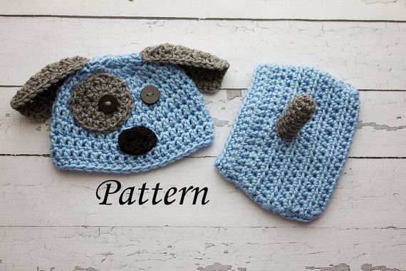 Crochet Pattern Baby Dog Hat : Crochet PATTERN - Newborn Puppy dog hat and diaper cover ...