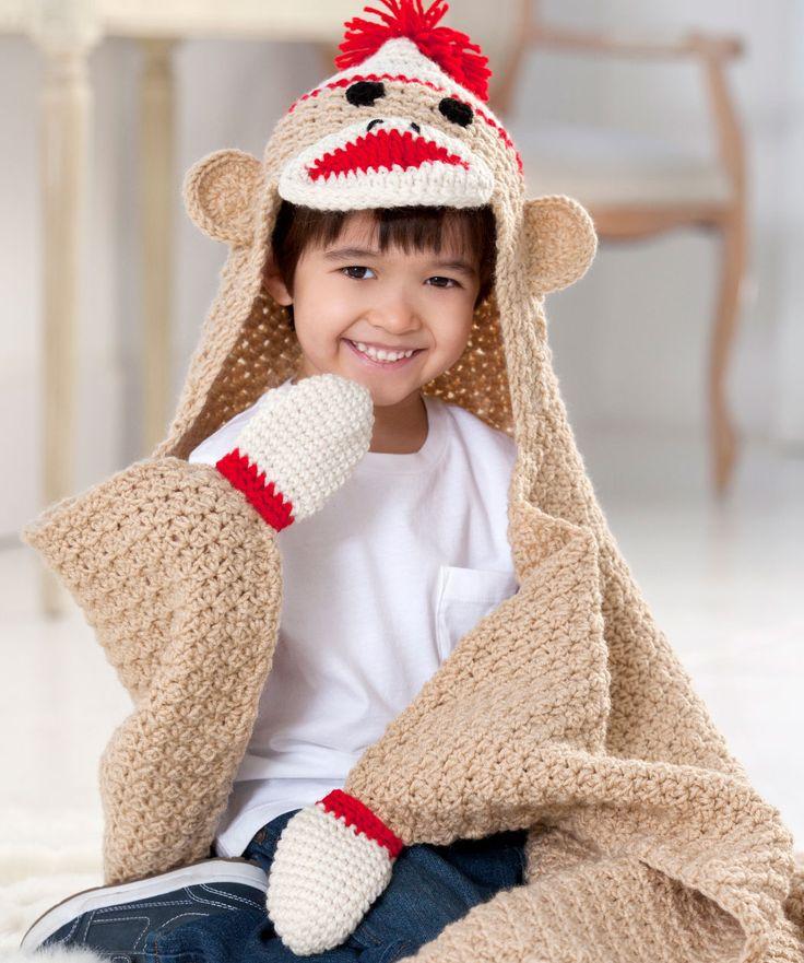 Crochet Baby Blanket Monkey Pattern : Sock Monkey Blanket - pattern crochet kid stuff Pinterest