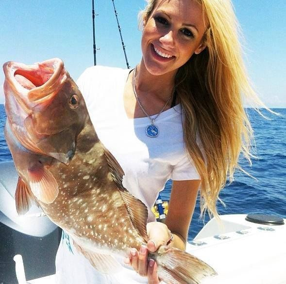 brooke thomas shows her nice grouper fishing pinterest