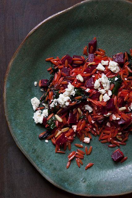warm orzo salad w/ beets, feta & greens | yummy town | Pinterest