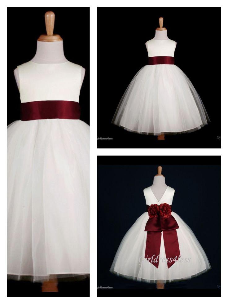 Deep Rose Burgundy Flower Girl Dress Fall Winter Wedding Maybe