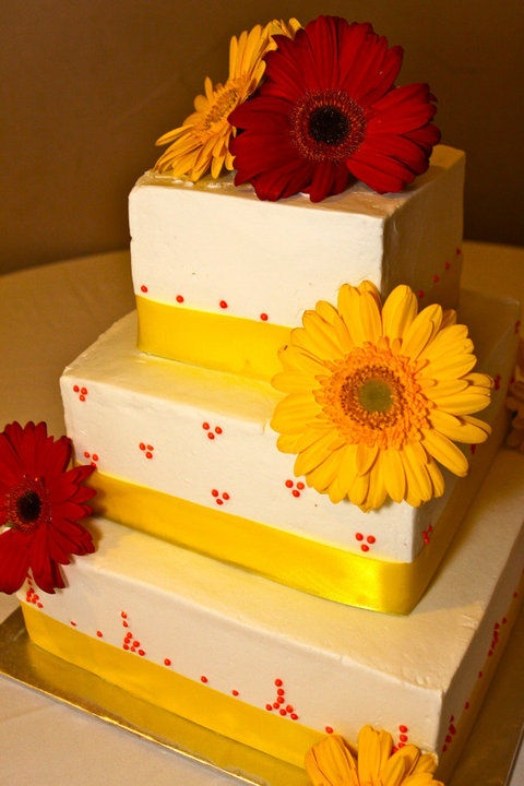 red and yellow cakes