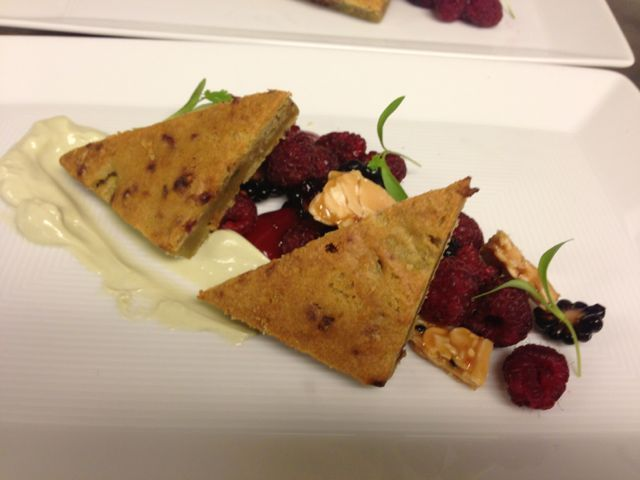 Raspberry Torte with Avocado, Sesame-Almond Brittle, Blackberry