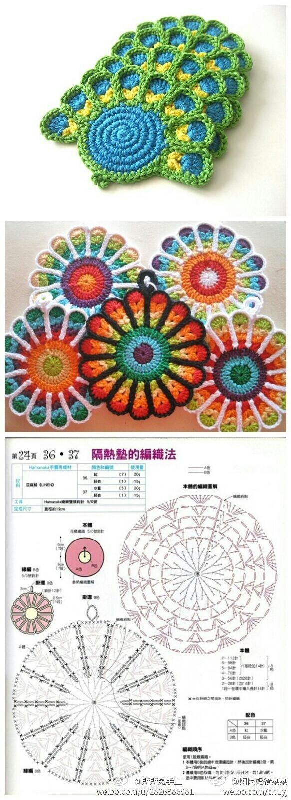 Crocheted flowers with diagram.