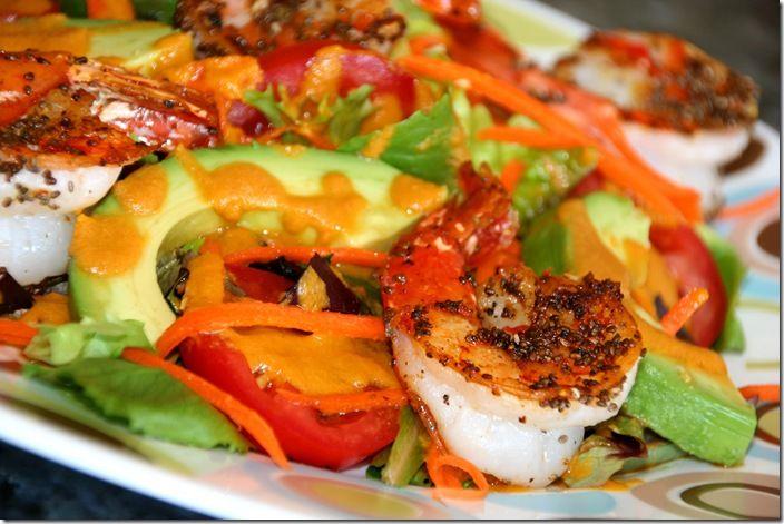 Shrimp & Avocado Salad with Carrot Ginger Dressing