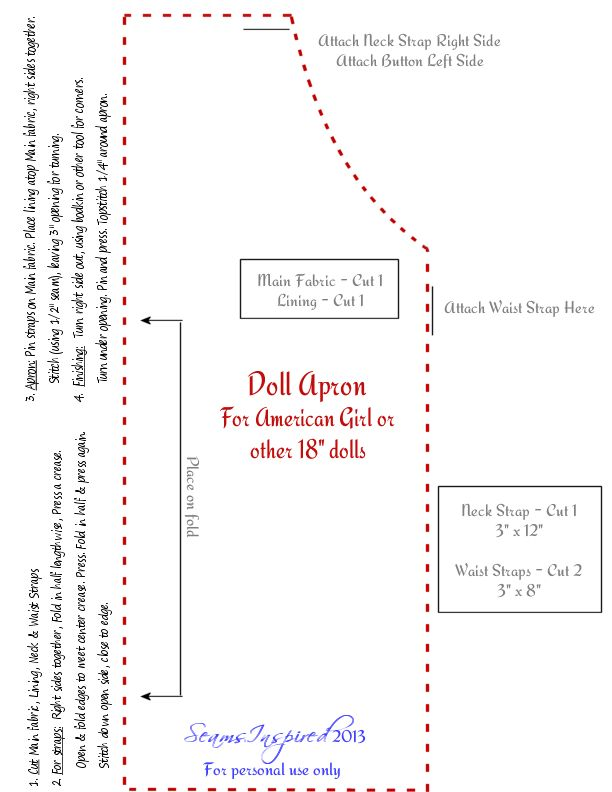 """... : Doll Apron Pattern for American Girl or other 18"""" Dolls (AG Doll"""