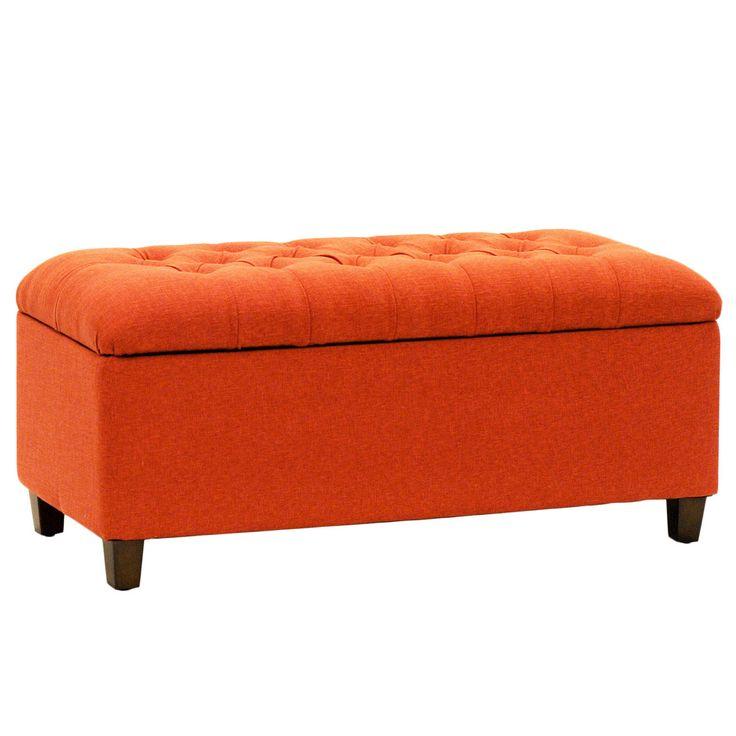 Kinfine Orange Red Linen Tufted Storage Bench