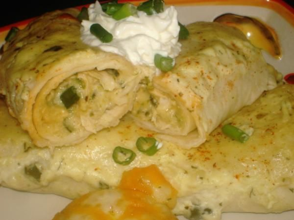 Roasted Poblano and Chicken Enchiladas With Sour Cream Sauce from Food ...