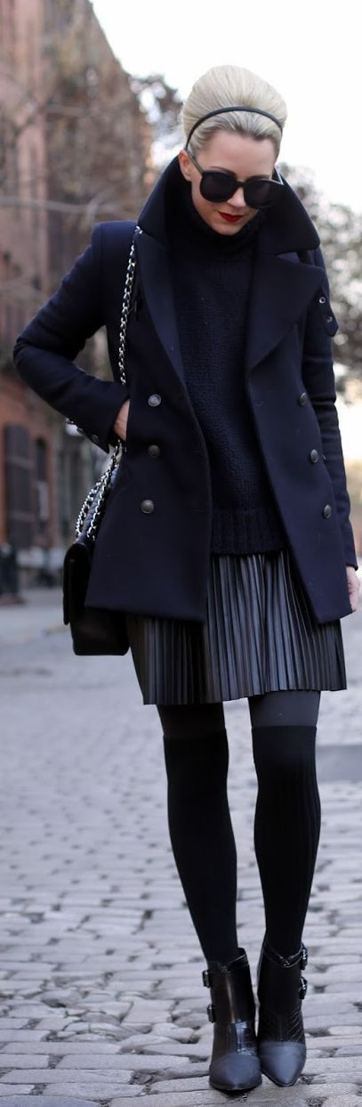 Dark navy coat & Little skirt