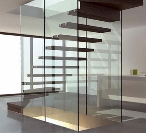 Modern minimalist glass stair design