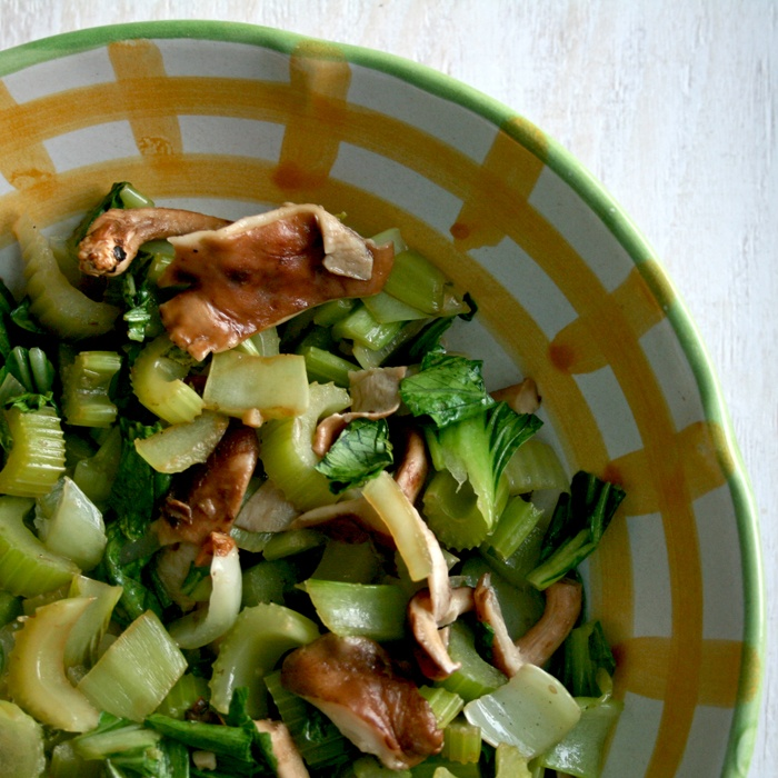 Baby Bok Choy with Celery and Mushrooms | Recipe