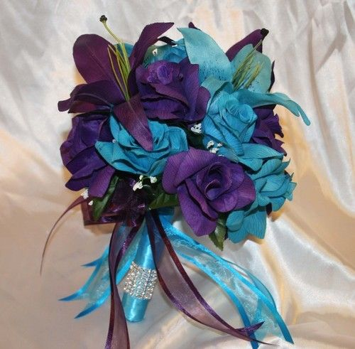 Wedding Bridal Bouquet Turquoise Purple Silk Wedding Flowers 21 Pcs