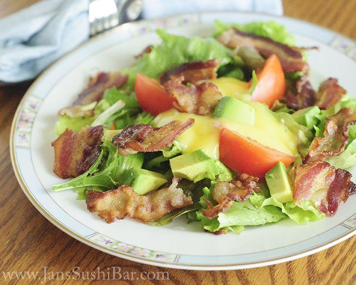 BLT Salad - Bacon & Avocado..creamy dressing with Mayo base...YUM!