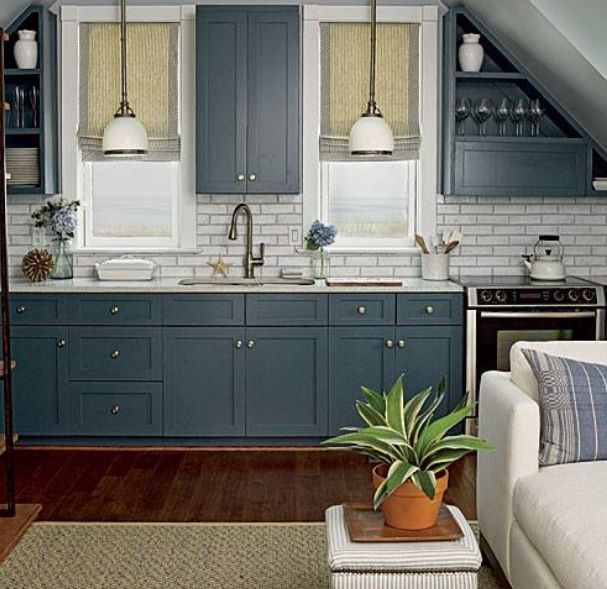 Navy Cabinets Kitchen Redo Paint Decor Pinterest