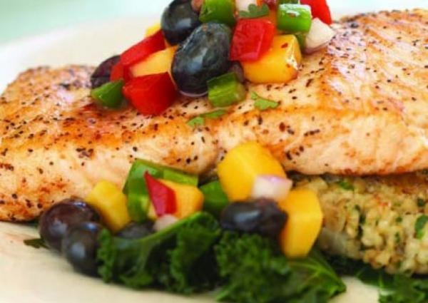 salmon with blueberry and mango salsa here