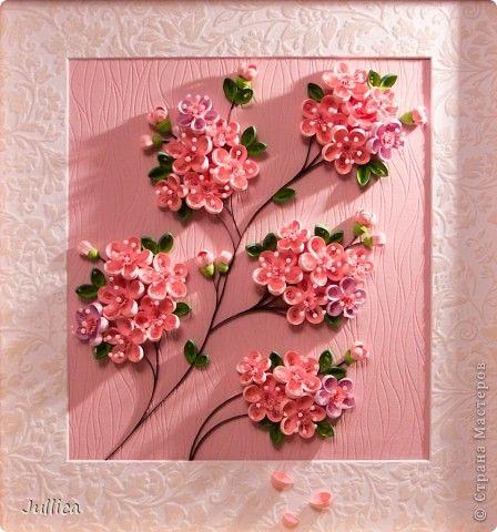 Картина, панно, рисунок Квиллинг: Сакура Бумажные полосы. Фото 3 Quilling Pinterest Quilling, Graphics and Cherry blossoms