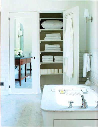 bath with mirrored linen closet doors closet bath ideas pinter