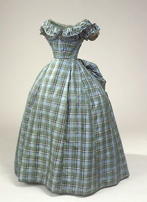 plaid taffeta silk 1860