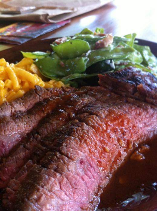 Grilled marinated flank steak dinner