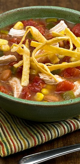 ... beans, corn and chicken with chicken broth for a quickly prepared soup