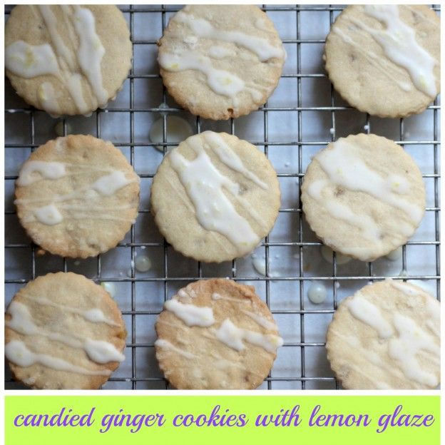 candied ginger sugar cookies with lemon glaze