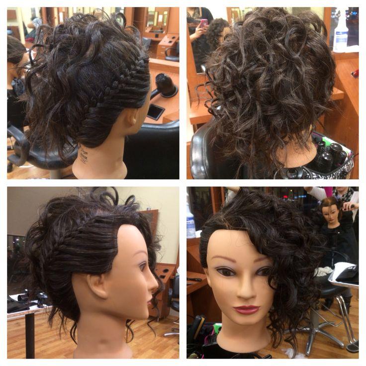 Side braid, curls, hairstyle   Cosmetology School ️   Pinterest