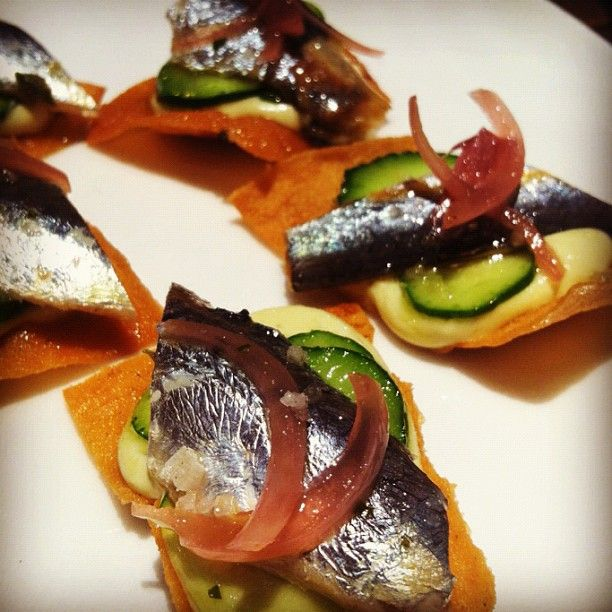 ... Wine Event marinated sardines, pane guittau, fava bean purée