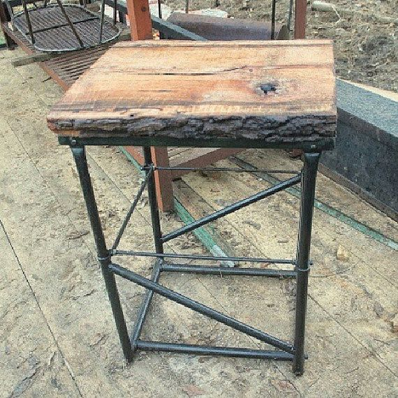 Rustic Industrial Farmhouse Table Furniture Reclaimed Wood Top