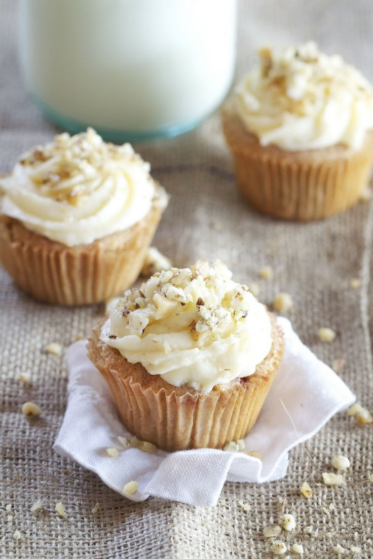 Apple Spice Cupcakes with vanilla frosting sprinkled with walnuts and ...