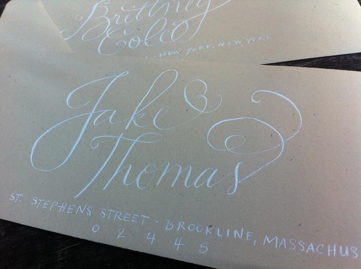 Custom modern wedding calligraphy envelopes from everly