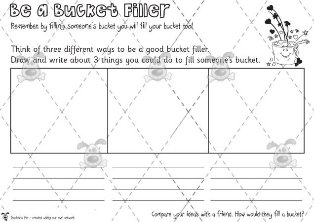 Teacher's Pet Activities & Games » Have You Filled a Bucket Today? (Fillers & Dippers) » EYFS, KS1, KS2 classroom activity and game resources » A Sparklebox alternative