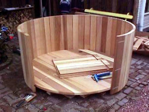 Pin by laura graham on wood barrel pinterest for Whiskey barrel bathtub