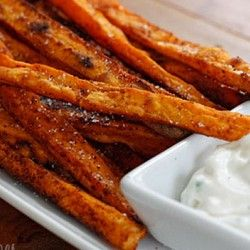 Baked Chipotle Sweet Potato Fries & I actually just made these before ...