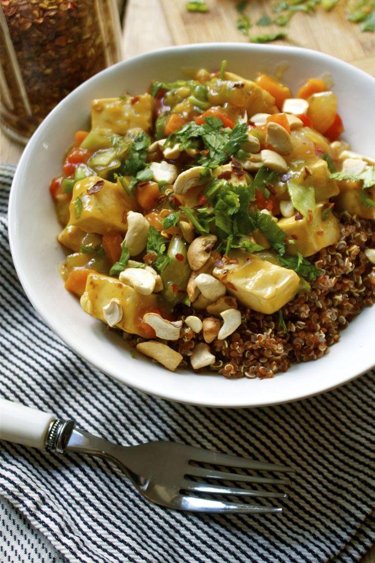 sweet amp sour tofu w cashews veggies amp cilantro over red quinoa ...