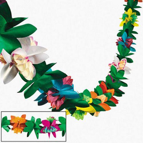 Hawaiian Tropical Flower Garland 9ft Luau Beach Tiki Pool Party Decor