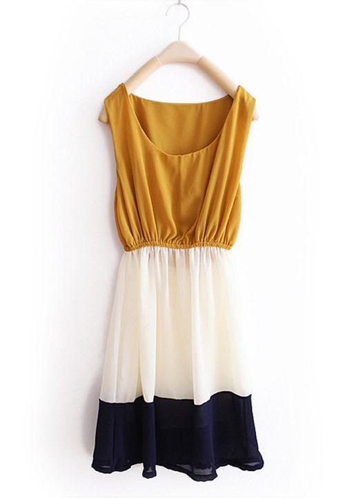 Yellow Stripe Patchwork Chiffon Tank Dress, Sheinside - $31.00