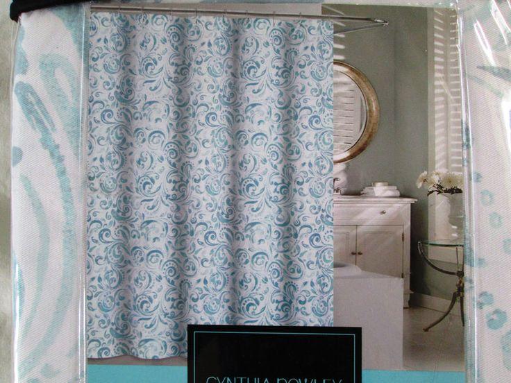 NEW Cynthia Rowley Fabric Shower Curtain Paisley BONAIRE Ocean Seafoa ...
