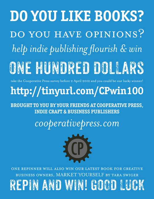 REPIN IT TO WIN IT! you can win a copy of our latest book for repinning, or one hundred dollars for taking the survey before midnight on 2 April 2012!